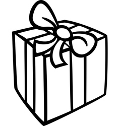 christmas gift coloring page vector image vector image