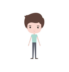 Colorful caricature thin guy in pants and t-shirt vector