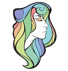 Decorative portrait of shaman girl with rainbow vector