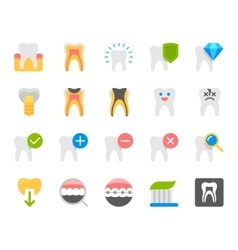 Dental flat icons set vector