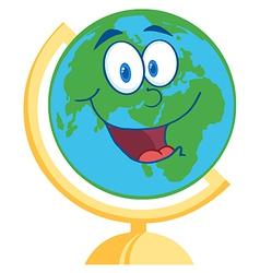 Desk globe cartoon mascot character vector