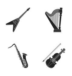 electric guitar loudspeakerharp saxophone vector image vector image