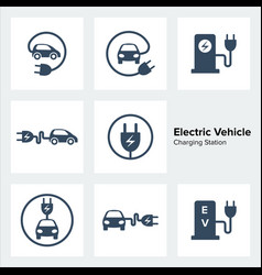 Electric vehicle charging station icons set vector