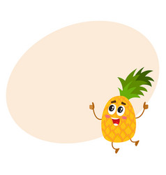 Funny pineapple character jumping and showing vector
