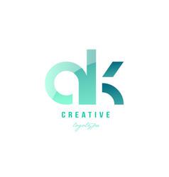 green gradient pastel modern ak a k alphabet vector image