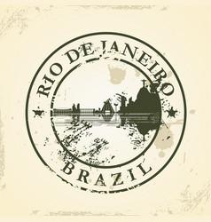 Grunge rubber stamp with rio de janeiro brazil vector
