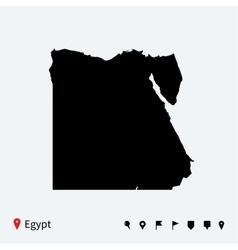 High detailed map of egypt with navigation pins vector