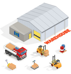 Isometric warehouse with office vector image vector image