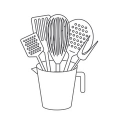 jar with kitchen utensils monochrome silhouette vector image