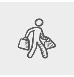 Man carrying shopping bags sktech icon vector image