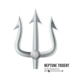 neptune trident silver realistic 3d vector image vector image
