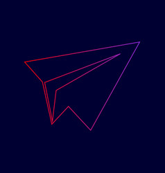 Paper airplane sign line icon with vector