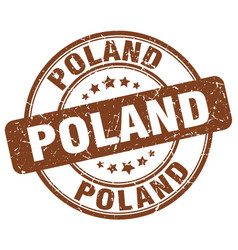 Poland brown grunge round vintage rubber stamp vector