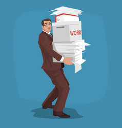 Sad businessman carries working papers vector