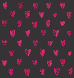 Seamless pattern with pink hand drawn hearts vector image vector image