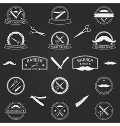 Set of barber shop logo on dark background vector