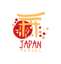 Travel to japan logo with traditional building vector