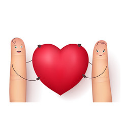 two funny fingers holding red heart vector image vector image