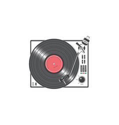 vinyl player with a vinyl disk detailed elements vector image vector image