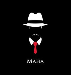 white silhouette of an italian mafia vector image vector image