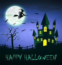 Witch flying over haunted castle with full moon vector