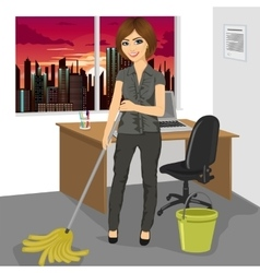 Woman mopping floor in office vector