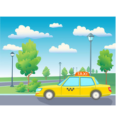yellow taxi car in park vector image vector image