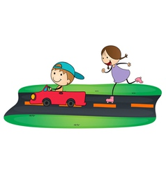 kids and car vector image