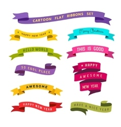 cartoon flat style ribbons set vector image