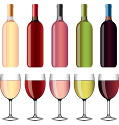 Wine and wineglasses set vector