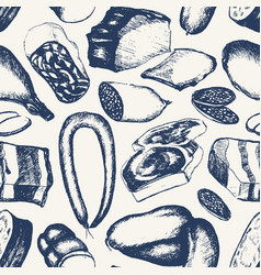 Processed meat - hand drawn seamless pattern vector