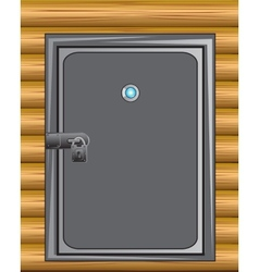 Iron door in wall vector