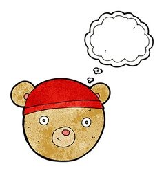 Cartoon teddy bear head with thought bubble vector