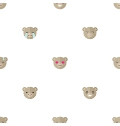 Flat cartoon bear heads with different vector