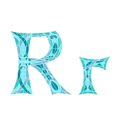 Low poly letter r in blue mosaic polygon vector