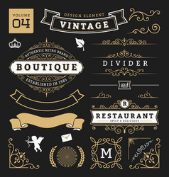 Set of retro vintage graphic design elements vector image
