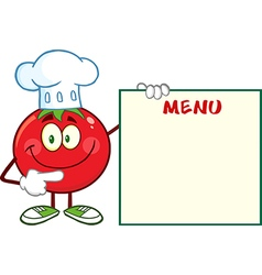 Smiling tomato chef cartoon with a sign vector