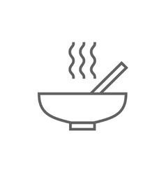 Bowl of hot soup with spoon line icon vector