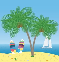 Palm tree surf boards and yacht with sails vector