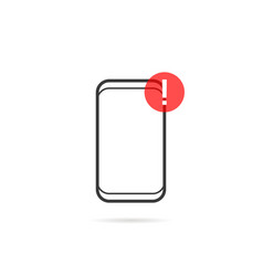 alert notification on thin line frameless phone vector image vector image