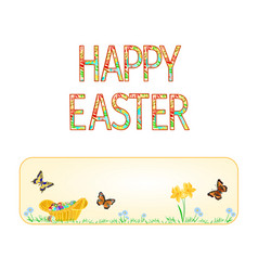 Banner happy easter wicker basket with easter egg vector