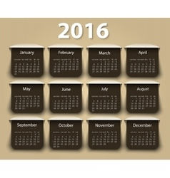 Calendar 2016 year design template vector image