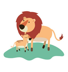 cartoon lion and cub over grass in colorful vector image vector image