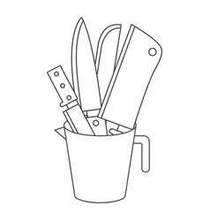 container with knives monochrome silhouette vector image