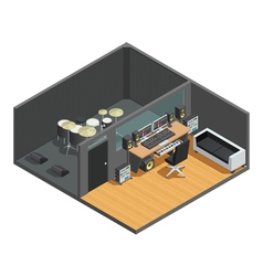 Drums Recording Studio Interior vector image