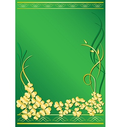 elegant green frame with flora vector image vector image