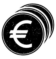 Euro coins grainy texture icon vector
