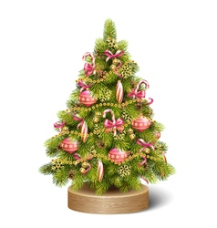Festive Decoration Christmas Tree Pine On Wooden vector image