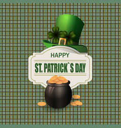 Green hat two leaf clover pot with gold coins vector