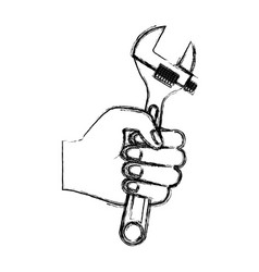 hand holding adjustable wrench flat icon vector image